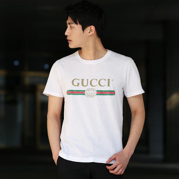 hot sale online bf3c6 c3f72 440103 X3F05 9045 Gucci logo印花T恤衫(WH)