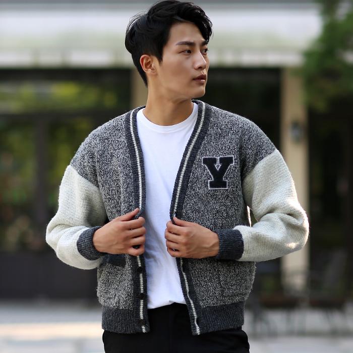 494149 Y1VN1 <BR> Y图标条纹羊毛开衫(GR)