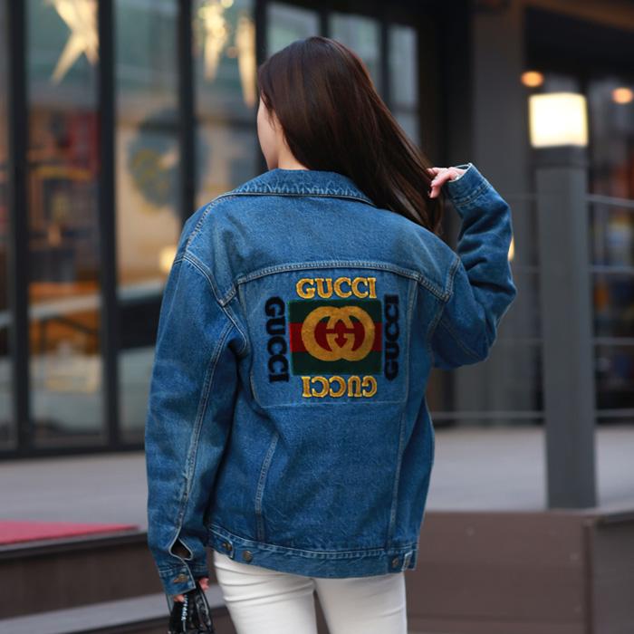 19SS 475024 XDAAT <BR> Logo贴片宽松款牛仔夹克(BL)