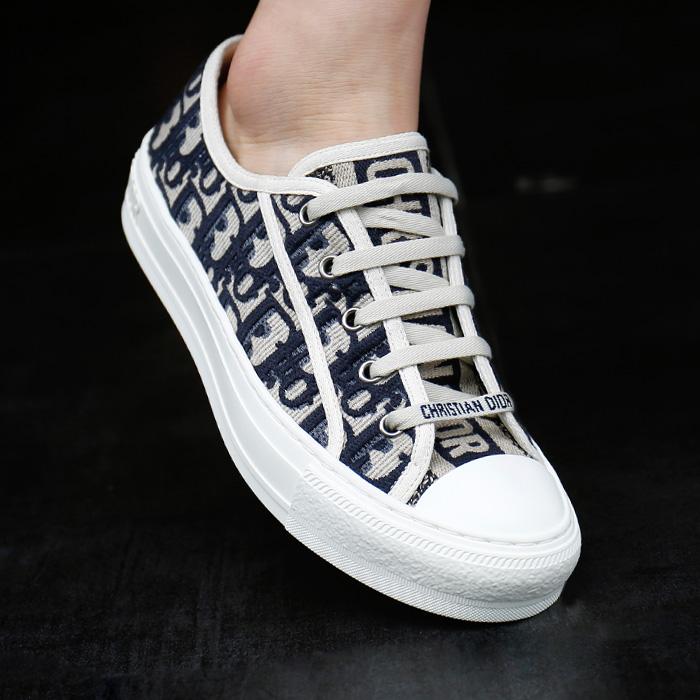 19SS KCK211OBE <BR>斜纹刺绣威威胶底帆布鞋(BL)