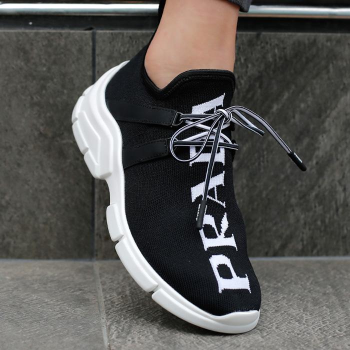 19FW 1E344L 3V98 <BR> Prada Image针织衫女运动鞋(BK)