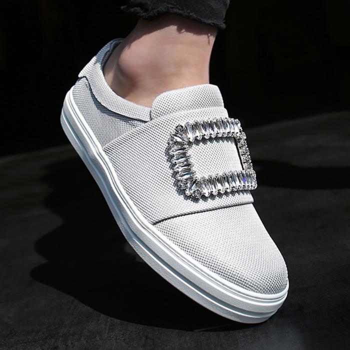 RVW41315851E09 <br> STRASS扣松紧紧帆布鞋(GR)