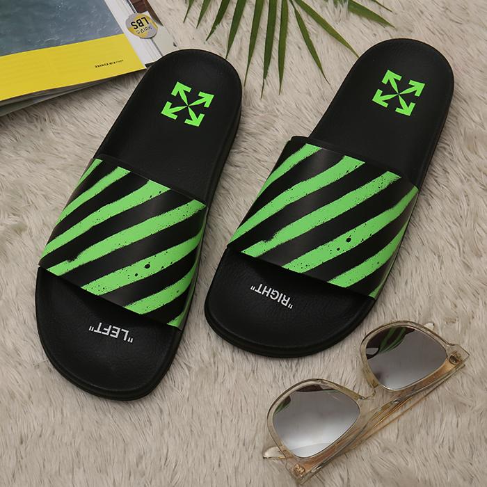 20SS OMIA088R20C22052 1040 <BR> SPRAY条纹拖鞋(BK)