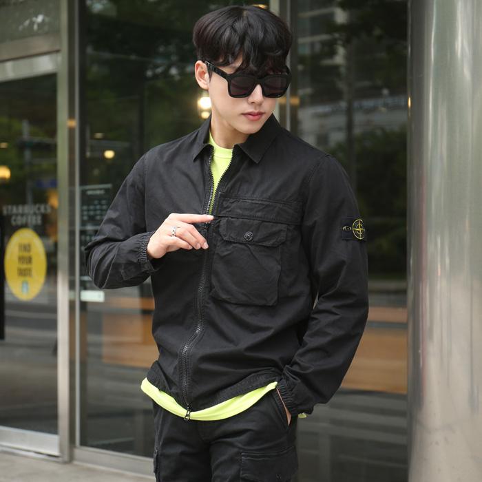 20FW 7315107WN <br> Warpen贴布拉链卫衣衬衫(BK)